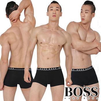 《HUGO BOSS》經典超彈性純棉透氣四角男內褲-3入組(黑色)