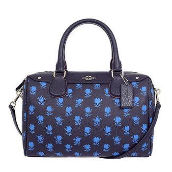 COACH 立體馬車印花防刮手提/斜背波士頓包-藍色花朵/小