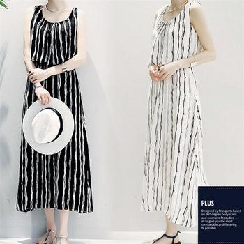 【SCL南加州丹寧時尚】T1638 輕鬆穿搭顯瘦一件式連身雪紡直條紋鬆緊腰身無袖連身長裙 (均碼)