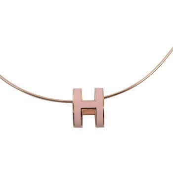 HERMES 時尚配件經典H LOGO橢圓銀飾項鍊.玫瑰金/粉