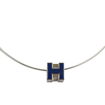 HERMES 時尚配件經典H LOGO銀飾項鍊.銀/深藍