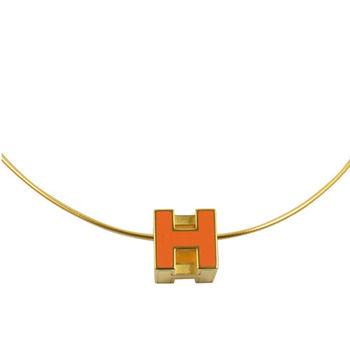 HERMES 時尚配件經典H LOGO銀飾項鍊.金/橘
