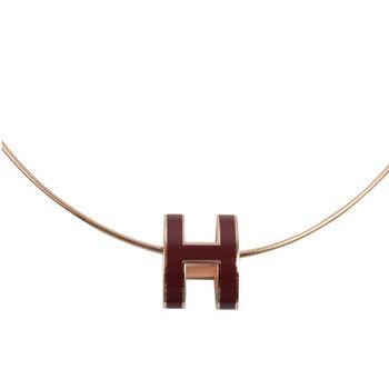 HERMES 時尚配件經典H LOGO橢圓銀飾項鍊.玫瑰金/深紫