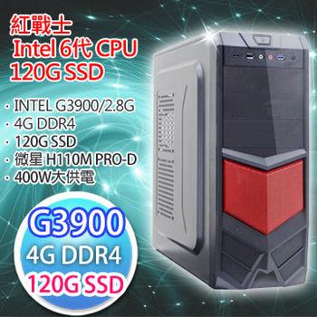 |微星平台|紅戰士 G3900 微星 H110M PRO-D 4G DDR4 120G SSD 六代超值文書桌上型電腦