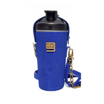 韓國Purenine升級款-河智苑代言智能轉鹼水瓶-藍色皮套720ml