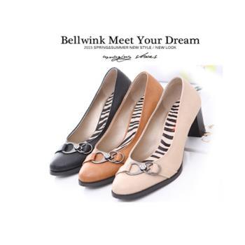 bellwink【B9203】立體水鑽三環造型粗跟鞋-白色/駝色