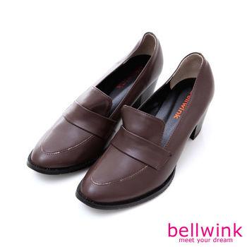 bellwink【B9004CE】復古純色尖頭高跟包鞋-棕色