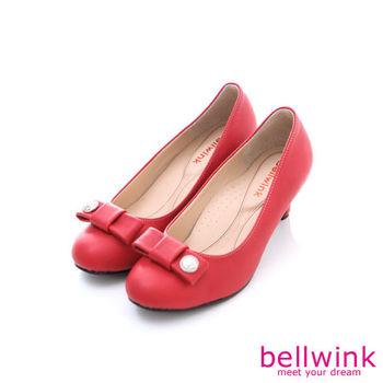 bellwink【B9010RD 】圓扣朵結圓弧低跟鞋-紅色