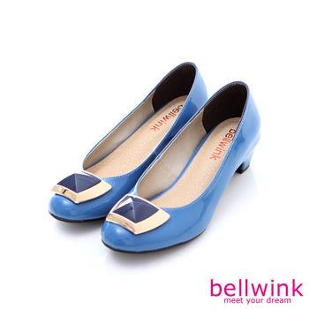 bellwink【B9011BE】金屬方型亮面粗跟鞋-藍色