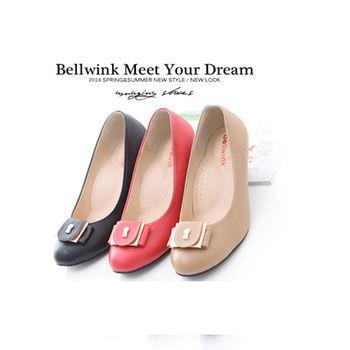 bellwink【B9013】金屬朵結圓頭低跟包鞋-紅色/駝色