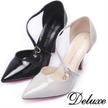 【Deluxe】閃耀星釦S型斜帶尖頭跟鞋(米.黑)