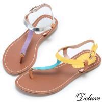 ~Deluxe~夏日 繽紛撞色拼接T字夾腳涼鞋 ^#40 藍黃~紫銀 ^#41
