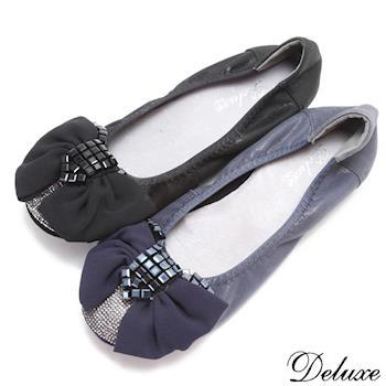 【Deluxe】方塊水晶混搭鑽平底娃娃鞋(藍.黑)