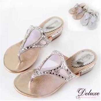 【Deluxe】夏日艷麗-清涼小性感網狀+閃耀水晶夾腳涼拖鞋(金色)