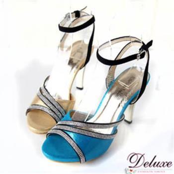 【Deluxe】閃亮皮革細排亮鑽繫踝高跟涼鞋(金.藍)
