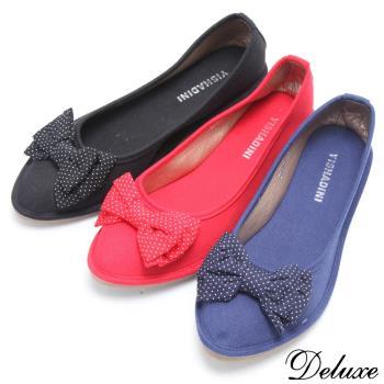 【Deluxe】小點點蝴蝶結加厚舒適軟墊平底鞋(紅.黑.藍)