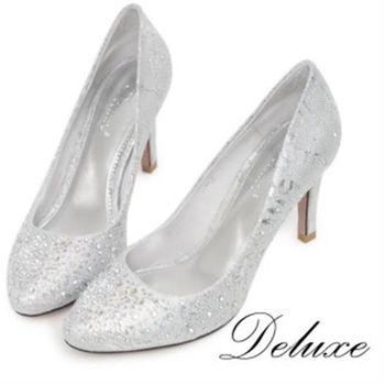 【Deluxe】全真皮水鑽高跟鞋(曲線優雅-銀)