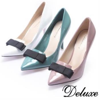 【Deluxe】漆皮黑蝴蝶尖頭高跟鞋(白/粉/綠)