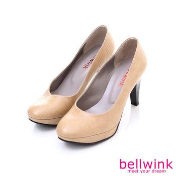 bellwink【B9207CL】日系經典皮革圓頭高跟鞋-駝色