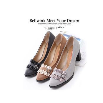 bellwink【B9205】日系緞面朵結繫繩低跟鞋-駝色/黑色/灰色