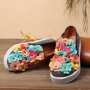 背叛風情-新款女士厚底單鞋圓頭花朵運動休閒鞋女鞋牛仔布鞋 T16ADX00701