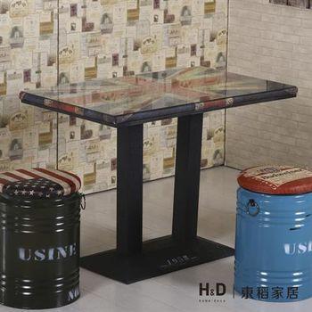 【H&D】英國4尺長方仿舊餐桌