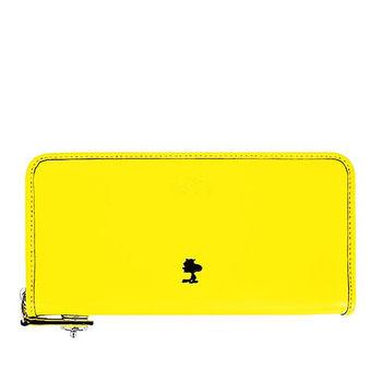 COACH 專櫃款 SNOOPY聯名款拉鍊長夾-黃色
