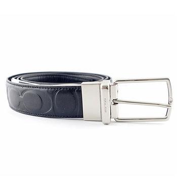 COACH 新款 窄版壓印LOGO穿式皮帶-黑色