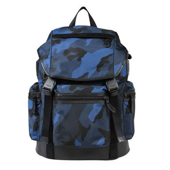 COACH 男款  壓印LOGO帆布拼接皮革迷彩運動風休閒後背包-藍