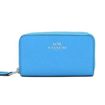 COACH燙金LOGO雙拉鍊防刮皮革手拿包(藍)