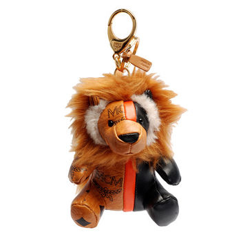 MCM 經典VISETOS獅子造型拼色塗層帆布鑰匙圈/吊飾(黑X橘)