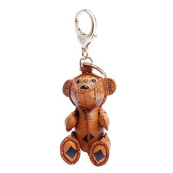 MCM 經典VISETOS小熊造型塗層帆布鑰匙圈/吊飾(橘)