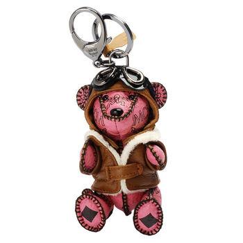 MCM 經典VISETOS飛行小熊造型塗層帆布鑰匙圈/吊飾(粉)