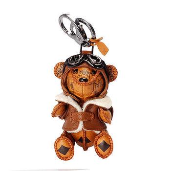 MCM 經典VISETOS飛行小熊造型塗層帆布鑰匙圈/吊飾(橘)