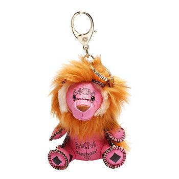 MCM 經典VISETOS獅子造型塗層帆布鑰匙圈/吊飾(粉)