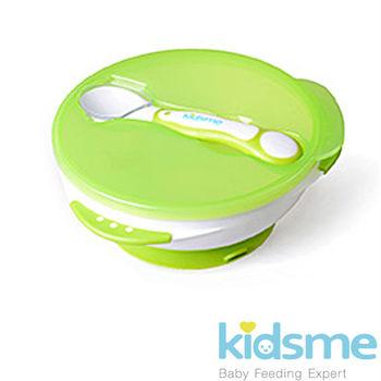 英國kidsme-寶寶練習吸盤碗+感溫變色湯匙-綠 (FH9832)