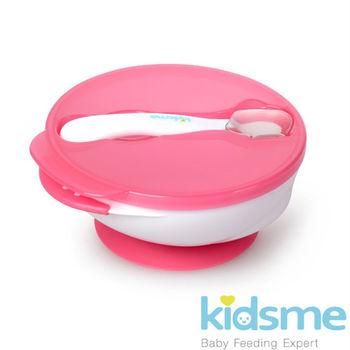 英國kidsme-寶寶練習吸盤碗+感溫變色湯匙-紅 (FH9832)
