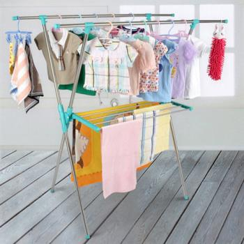 【LIFECODE】小太陽-免螺絲X型曬衣架附毛巾架(帝芬妮藍)_送曬鞋架