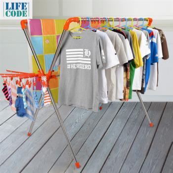 【LIFECODE】日光免螺絲X型曬衣架(桔色)-附2個曬襪架+防風掛勾_再送曬鞋架