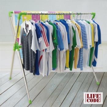 【LIFECODE】免螺絲-超大可伸縮X型曬衣架 (果綠色)_送20個防風掛勾+曬鞋架