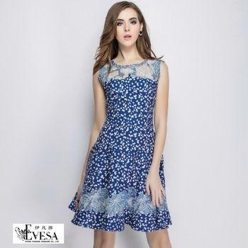 預購【伊凡莎時尚】法式甜美玫瑰刺繡牛仔公主洋裝(S-XXL)