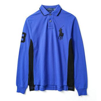 Ralph Lauren  男款大馬標長袖POLO衫修身版-寶藍(S-XL)