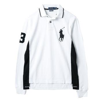 Ralph Lauren  男款大馬標長袖POLO衫修身版-白(S-XL)
