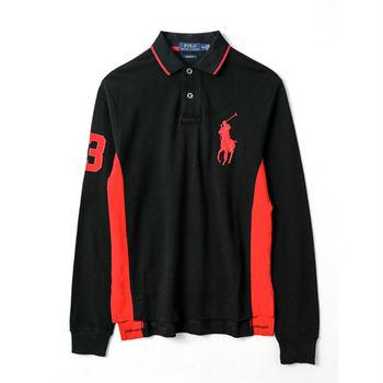 Ralph Lauren  男款大馬標長袖POLO衫修身版-黑(S-XL)