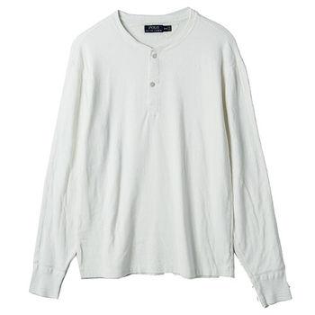 Ralph Lauren 亨利領長袖上衣經典款T恤 白(S-XL)