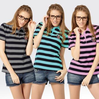 【SAMLIX山力士】活力女孩S-XL MIT 吸濕排汗彈性快乾短袖POLO衫#SP203(黑灰.墨綠.黑粉)