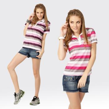 【SAMLIX山力士】活力女孩S-XL台灣製 吸濕排汗 陶瓷紗 短袖 POLO衫#SP201(粉紅.紫色)