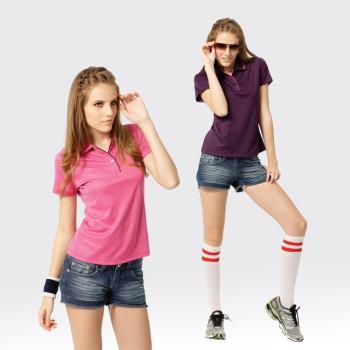 【SAMLIX山力士】活力女孩S-XL台灣製 吸濕排汗 咖啡紗 短袖 POLO衫#SP206(深紫.粉紅)