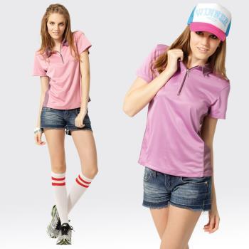 【SAMLIX山力士】活力女孩S-XL 台灣製 吸濕排汗 椰碳紗 短袖 POLO衫#SP207(深紫.粉紅)