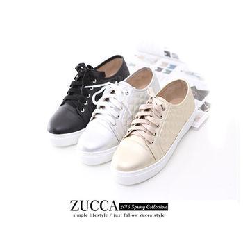 ZUCCA【Z5819】日系亮彩皮面綁繩厚底休閒鞋-金色/銀色